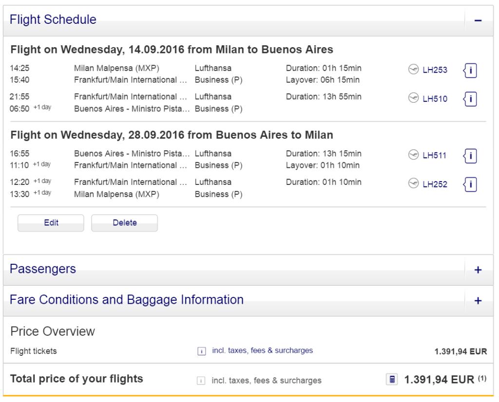 Бизнес-класс Lufthansa: Южная Америка из Милана от 1300 евро