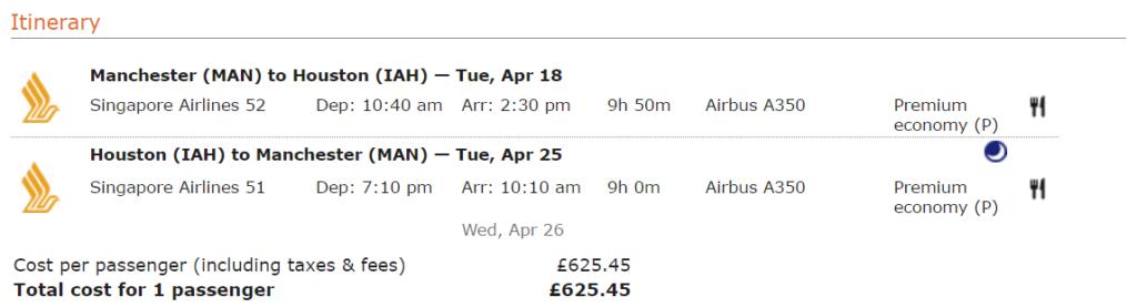 Премиум-эконом Singapore Airlines из Манчестера в Хьюстон за 622 €