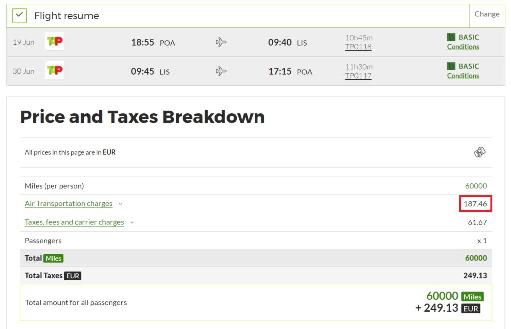 TAP вновь убрала топливные сборы для премиальных билетов с вылетом из Бразилии
