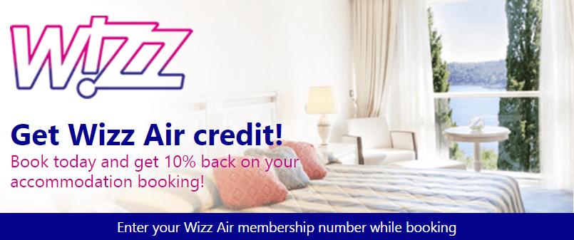 10% cashback в виде кредитов Wizzair при бронировании отелей на booking.com