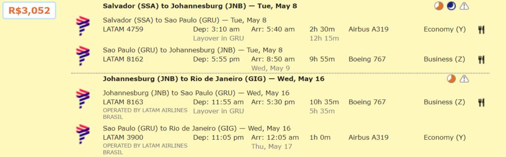 Бизнес-класс LATAM/South African Airways из Бразилии в ЮАР от 762€