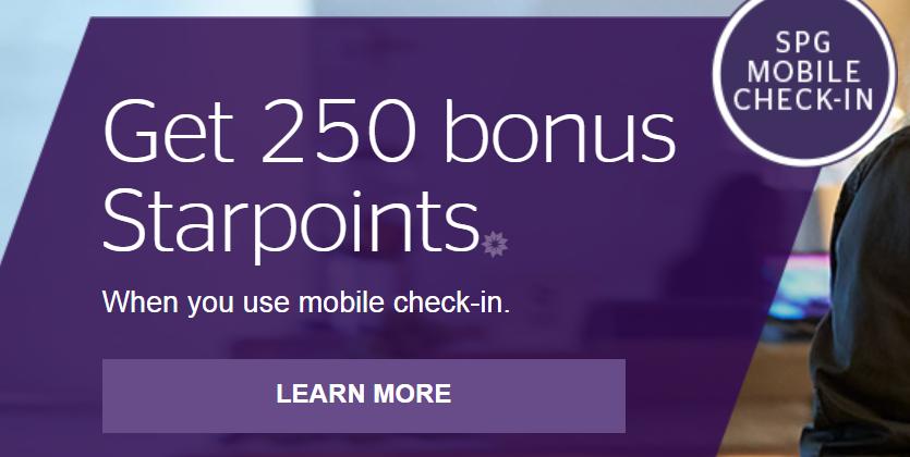 250 баллов SPG за мобильную регистрацию