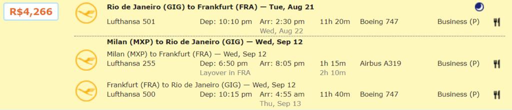 Бизнес-класс Lufthansa/Swiss/Edelweiss из Бразилии в Европу от 950€